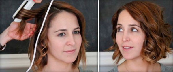 Локоны с помощью утюжка на короткие волосы